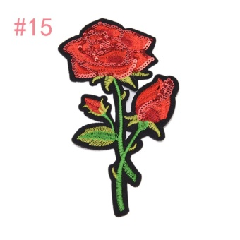 Rose Embroidered Sewing On Patch Flower Stickers For Clothes Applique #15: 8x13.5cm - intl
