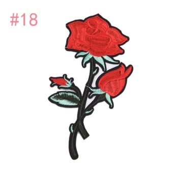 Rose Embroidered Sewing On Patch Flower Stickers For Clothes Applique #18: 8.5X17.3CM - intl
