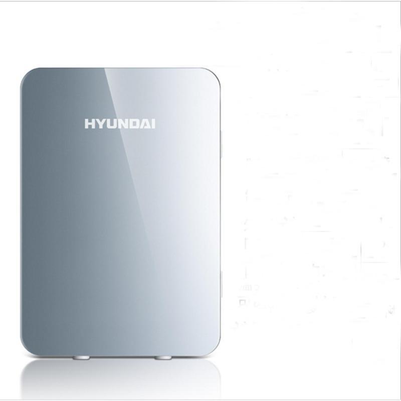 Tủ lạnh Hyundai 20 Lít nguồn vào 12v/220v sử dụng điện nhà hoặc trên ô tô (Màu Bạc silver) - Hàng nhập khẩu