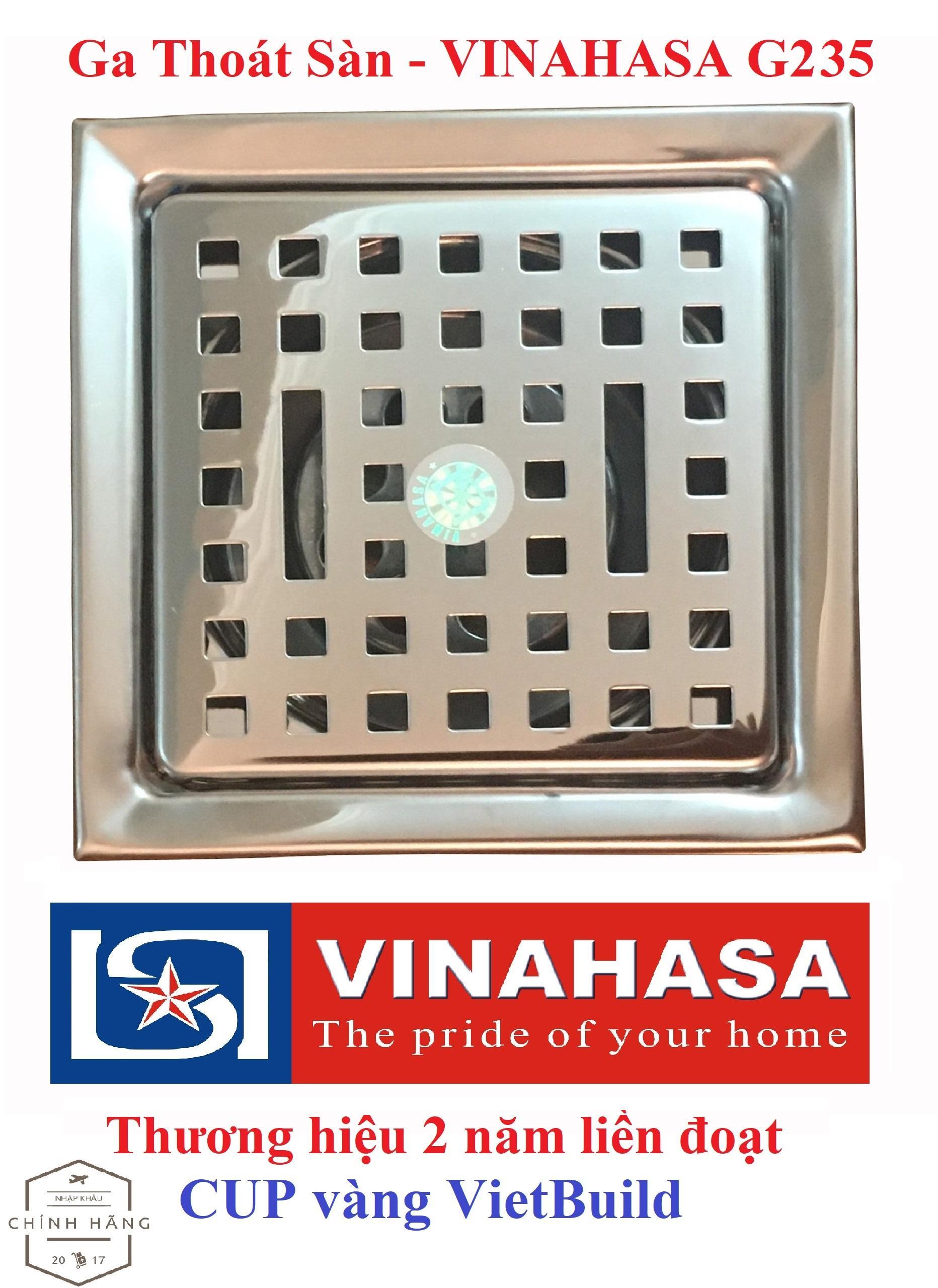 Ga thoát sàn – phễu thoát sàn INOX Vinahasa 12x12cm Phi 75 - 60mm Chống Hôi – Lọc Rác 3 lớp hiệu quả G235 (Bảo hành 12 tháng – 1 đổi 1 trong 7 ngày)