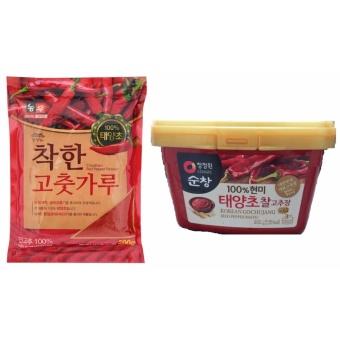 01 Gói Ớt Bột Hàn Quốc Cao Cấp 500g + 01 Hộp Tương Ớt Gochujang Hàn Quốc 500g
