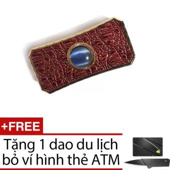 Bật lửa bọc da viên ngọc (Nâu) + Tặng dao gấp hình thẻ ATM