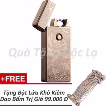 Bật Lửa Jobon Sạc USB ZB-308B Khắc Hình Rồng + Tặng Bật Lửa KhòKiêm Dao Bấm