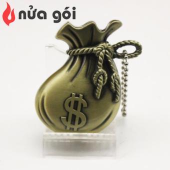 Bật lửa khò kiêm móc khóa kiểu bịch tiền Dollar Box F40 (vàng đồng)