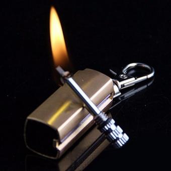 Bật lửa móc khóa mini xăng kiểu diêm quẹt HY613 vỏ hợp kim (màu vàng)