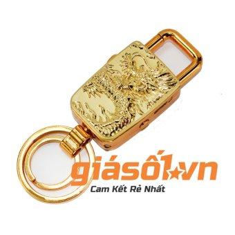 Bật lửa sạc điện USB,đèn pin + móc khóa Rồng vàng