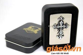 Bật lửa xăng ZORRO thánh giá gắn đá (Bạc)