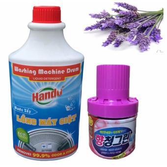 Bộ 1 Nước tẩy chuyên dụng vệ sinh lồng máy giặt Hando va 1 Chai sápthả bồn cầu khử mùi diệt khuẩn RCB176