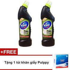 Giá Khuyến Mại Bộ 2 chai nước tẩy bồn cầu Vim Zero hương chanh 750ml (Xanh) + Tặng 1 túi khăn giấy Pulppy