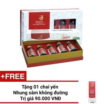 Bộ 2 hộp Nước Yến Nhung Sâm Finest không đường Hộp 5 (100ml x 5) +Tặng 1 chai Yến 100ml cùng loại