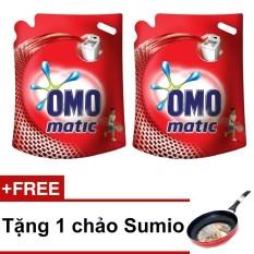 Bộ 2 nước giặt OMO Mactic cửa trên 2.7 kg + Tặng chảo chống dính Sumio