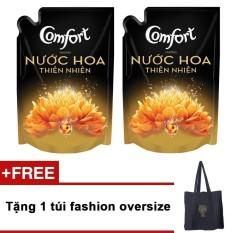 Bộ 2 nước xả vải Comfort hương nước hoa Sofia 1.6L (Dạng túi) +  Tặng túi fashion oversize