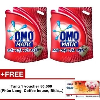 Bộ 2 túi nước giặt Omo Matic máy giặt cửa trên 2.7kg + Tặng voucher 50.000VNĐ (Phúc Long, Coffee house,...