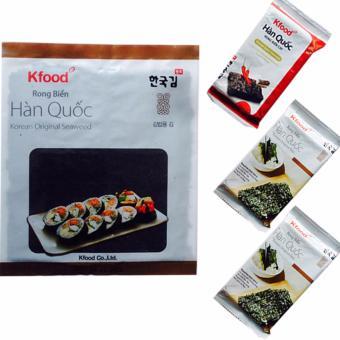 Bộ 3 Gói Rong Biển Hàn Quốc và Rong biển cuộn cơm(1 x 10 miếng)