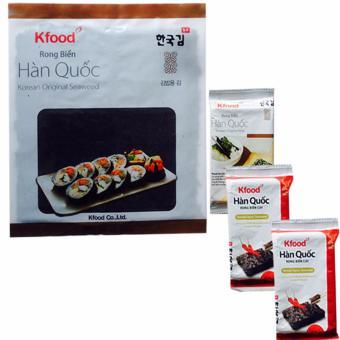Bộ 3 Gói snack Rong Biển Hàn Quốc và gói rong biển cuộn cơm(1 x 10 miếng)