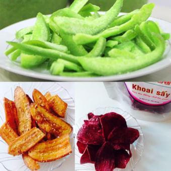 Bộ 3, Mứt vỏ bưởi sấy dẻo (200gr )- bộ chuối sấy giòn mè (400gr) và khoai lang tím sấy giòn (250gr)