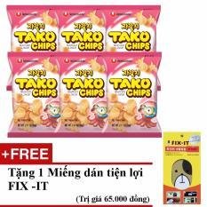Nơi Bán Bộ 6 gói bánh snack tako nhập khẩu Hàn Quốc + Tặng miếng dán đa năng fit-it