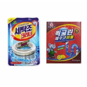 Bộ Bột Thông Tắc Bồn Cầu Siêu Mạnh + Gói Bột Tẩy Vệ Sinh Lồng Máy Giặt, Khử Mùi, Diệt Khuẩn