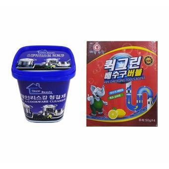 Bộ Bột thông tắc ống nước, bồn cầu Hàn Quốc siêu mạnh + Kem tẩy rỉxoong nồi và đồ gia dụng