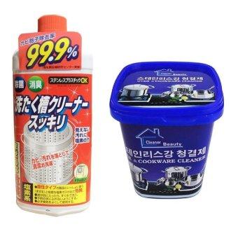 Bộ Dung dịch vệ sinh lồng máy giặt Nhật Bản + Hộp kem tẩy rỉ đanăng Siêu tẩy vết bẩn nhà bếp, nhà tắm
