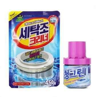 Bộ gói bột tẩy lồng máy giặt 450Gr và lọ khử mùi diệt khuẩn thả bồncầu