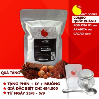 [Combo 2] Cà phê Robusta Thương hạng (bột) + cà phê Arabica (bột) +Cacao nguyên chất 100% + TẶNG 01 phin + 01 ly thủy tinh LightCoffee + 01 muỗng cafe OLA Coffee - 8249116 , LI325WNAA6PHYNVNAMZ-12333212 , 224_LI325WNAA6PHYNVNAMZ-12333212 , 988000 , Combo-2-Ca-phe-Robusta-Thuong-hang-bot-ca-phe-Arabica-bot-Cacao-nguyen-chat-100Phan-Tram-TANG-01-phin-01-ly-thuy-tinh-LightCoffee-01-muong-cafe-OLA-Coffee-224_LI325W