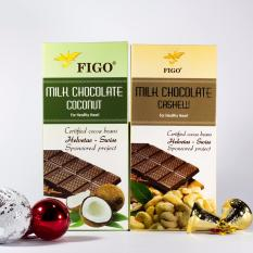 Combo 2 thanh Chocolate Hạt điều Figo 100g + Chocolate Dừa Figo 100g