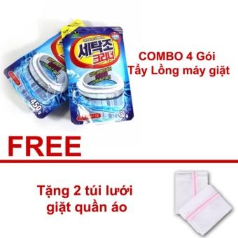 COMBO 4 Gói Bột tẩy rửa vệ sinh lồng máy giặt Hàn Quốc - Tặng 2 túilưới giặt quần áo
