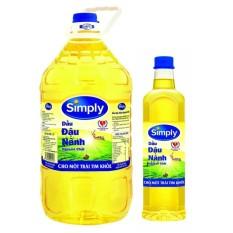 Dầu ăn Simply đậu nành 5L + Tặng 1 chai dầu ăn Simply đậu nành 1L