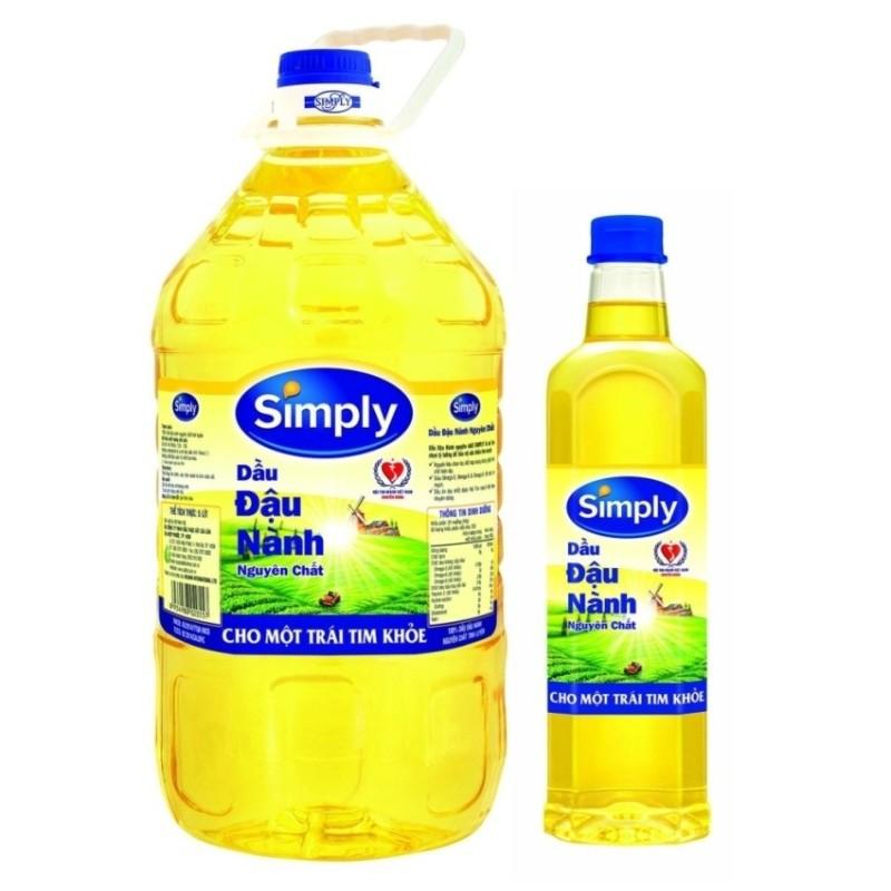 Nơi bán Dầu ăn Simply đậu nành 5L + Tặng 1 chai dầu ăn Simply đậu nành 1L