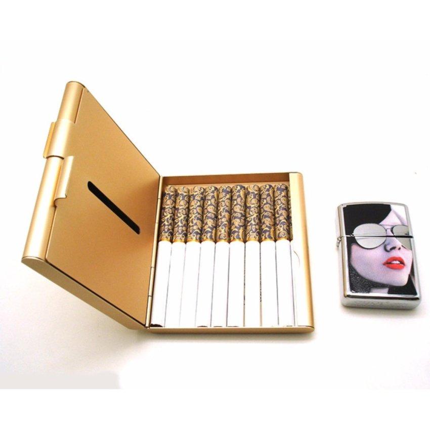 Hình ảnh Hộp đựng thuốc lá 20 điếu cao cấp bằng nhôm siêu mỏng F179 (Vàng)