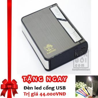 Hộp Đựng Thuốc Lá Kiêm Bật Lửa Hồng Ngoại Kèm Cáp Sạc F636 (Đen) + Tặng đèn LED cổng USB