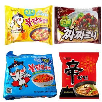 Bộ 4 gói gồm Mì khô gà cay phô mai, mì cay lạnh, mì trộn tương đen, Mì Shin