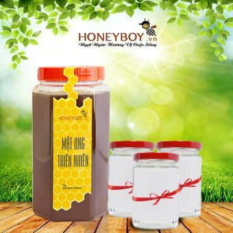 Mật ong thiên nhiên HONEYBOY 1Kg Tặng kèm Bộ 3 lọ thủy tinh cao cấp 100ml