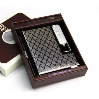 Hộp đựng thuốc lá classic kiêm bật lửa hồng ngoại kiểu cổ điển kèm cáp sạc F624 (trắng bạc)