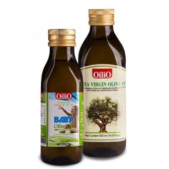 Bộ 1 chai dầu Oliu Extra Virgin OiliO 500ml và 1 chai dầu Oliu baby OiliO 250ml
