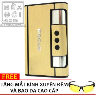 Hộp đựng thuốc lá kiêm bật lửa khò WINDRUNNER F645 (Vàng) + Tặng kính xuyên đêm và bao da cao cấp