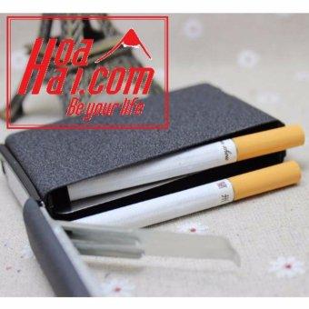 Hộp đựng thuốc lá kiêm bật lửa khò JD HOAHAI.COM (đen) + Tặng bật lửa LOL