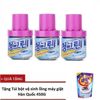 Bộ 3 chai thả bồn cầu diệt khuẩn, khử mùi Hàn Quốc - 400g/Chai + Tặng 1 Túi tẩy vệ sinh lồng giặt Hàn Quốc
