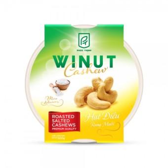 Hạt điều rang muối bóc vỏ lụa Winut 500gr (Hộp nhựa)
