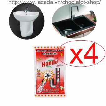 Bộ 4 gói bột thông tắc cống,đường ống nước thải,Lavabo,bồn rửa bát Hando 100Gr (Màu Đỏ)