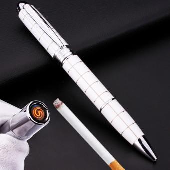 Bật lửa hồng ngoại kiêm bút ký sang trọng kèm cáp sạc F522 (Trắng caro).
