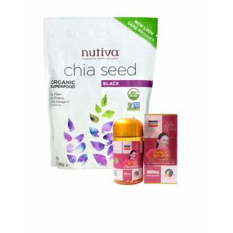 Bộ Hạt chia Nutifood Nutiva Organic Chia Seed 907g và Viên uống nhau thai cừu Costar Placenta 35000mg 100 viên