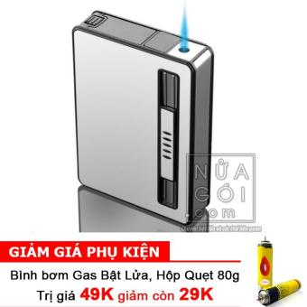 Hộp đựng thuốc lá kiêm bật lửa khò mẫu traveler F644 (Trắng bạc) + Bình bơm gas Bật lửa 80g