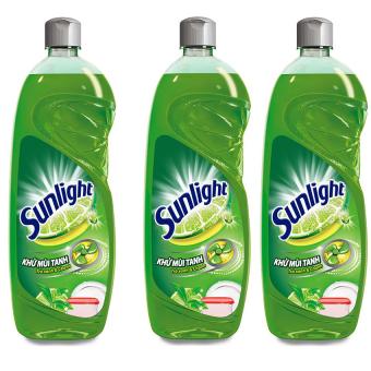 Bộ 3 nước rửa chén khử mùi tanh Sunlight trà xanh 750g