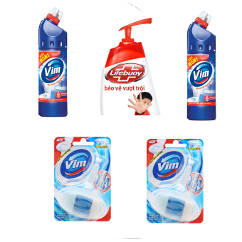 Bộ 2 chai tẩy rửa bồn cầu VIM 900ml + 2 viên VIM bồn cầu 40g và1chai nước rửa tay Lifebuoy 500g