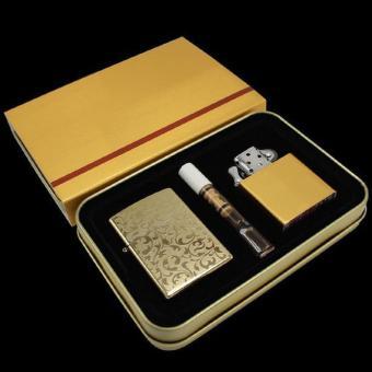 Bộ bật lửa điện kèm ruột xăng và tẩu lọc thuốc lá Z1 (Vàng đồng)