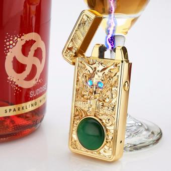 Bật lửa xung điện đầu Rồng Sapphire mắt xanh nạm ngọc cao cấp sạc USB F73