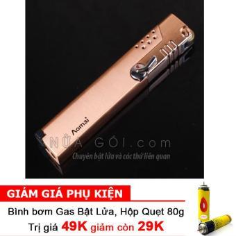 Bật lửa khò không cần giữ van AM227 F539 (Vàng) + Bình bơm gas Bật lửa 80g