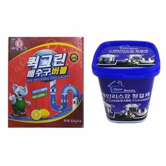 Bộ Kem tẩy xoong nồi và đồ gia dụng và Bột thông tắc ống nước, bồn cầu Hàn Quốc